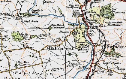 Old map of Halton West in 1924