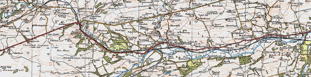 Old map of Aesica (Roman Fort) in 1925