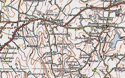 Old map of Halvosso in 1919