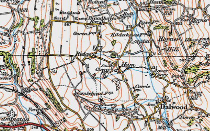 Old map of Yonder Ridge in 1919