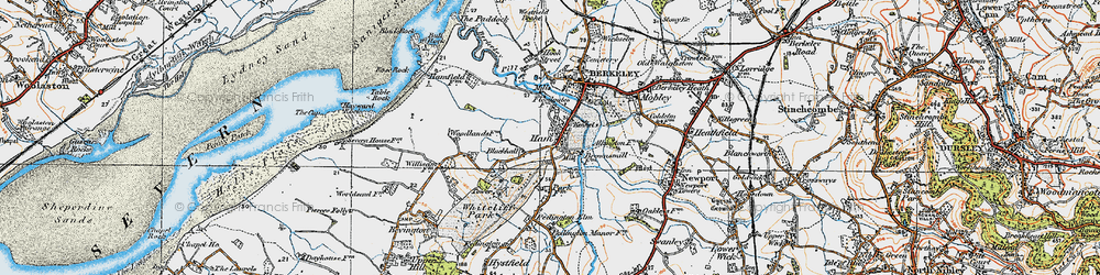 Old map of Ham Green in 1919