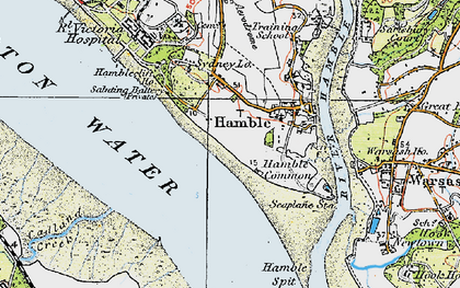 Old map of Hamble-le-Rice in 1919