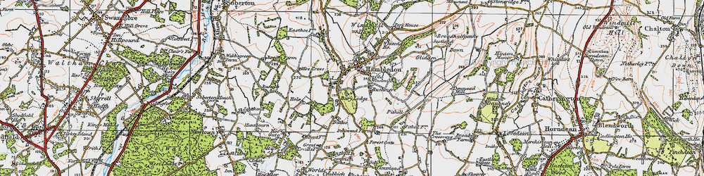 Old map of Windmill Down in 1919