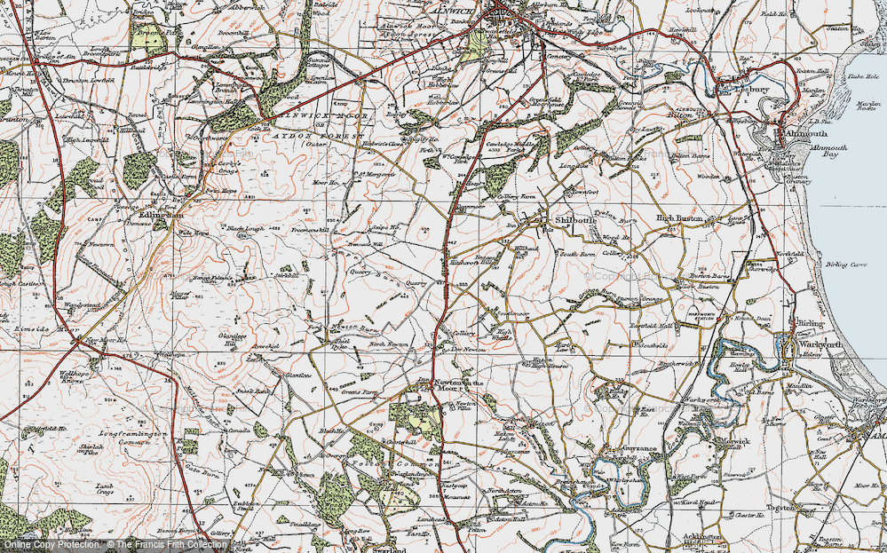 Old Map of Historic Map covering Whittle Colliery in 1925