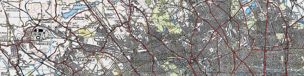 Old map of Hampstead in 1920