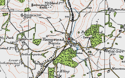 Old map of Hampstead Norreys in 1919