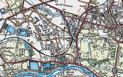 Old map of Hampton in 1920