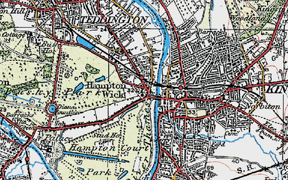 Old map of Hampton Wick in 1920
