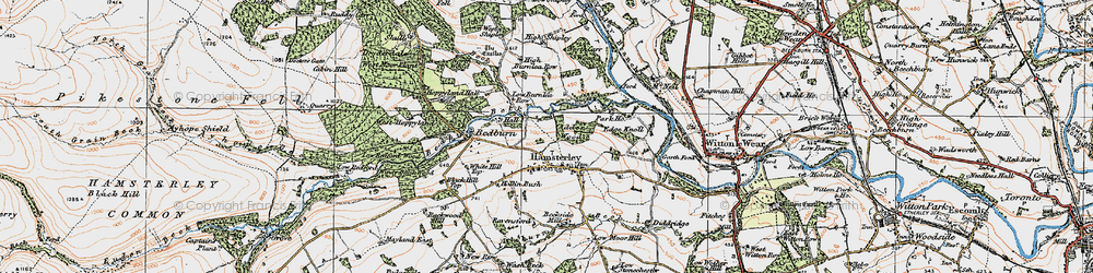 Old map of Hamsterley in 1925