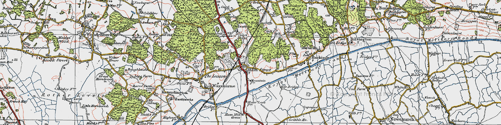 Old map of Hamstreet in 1921