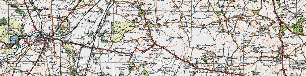 Old map of Hanbury in 1919