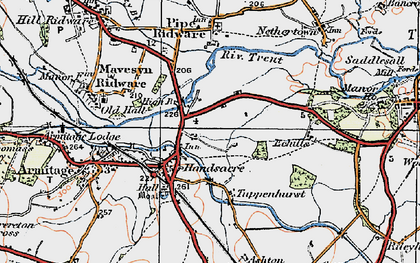 Old map of Handsacre in 1921
