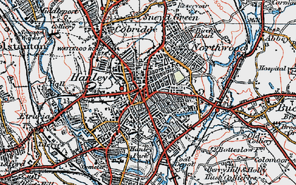 Old map of Hanley in 1921