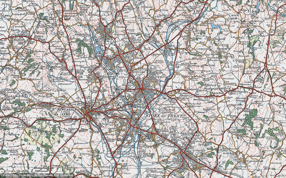 Map of Hanley 1921 Francis Frith
