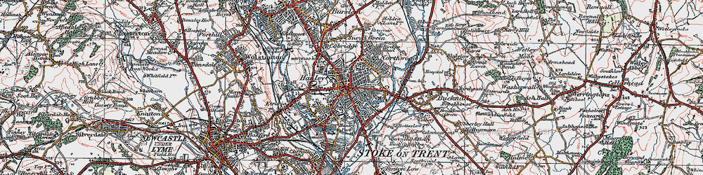 Old map of Hanley in 1921