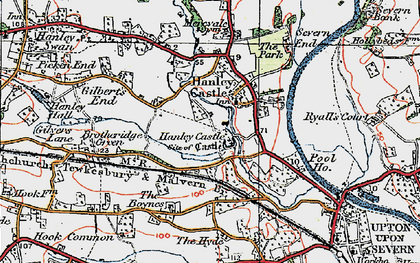 Old map of Hanley Castle in 1920