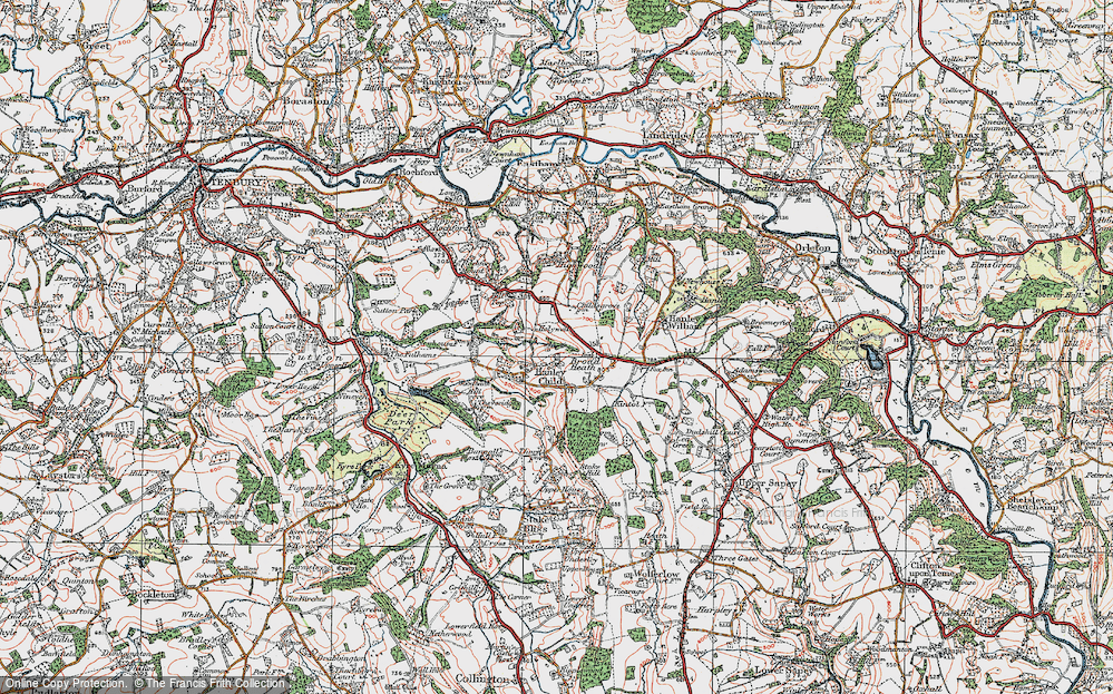 Old Map of Historic Map covering Woodbank Hill in 1920