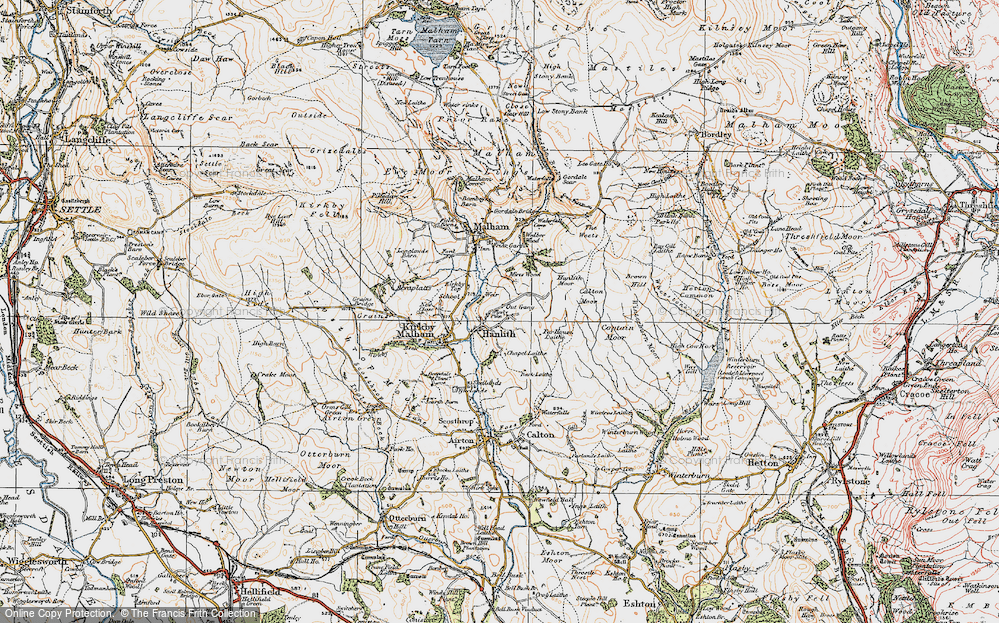 Old Map of Historic Map covering Whetstone Gill in 1924