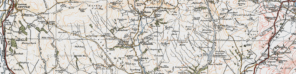Old map of Winterburn Moor in 1924