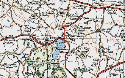 Old map of Hanmer in 1921