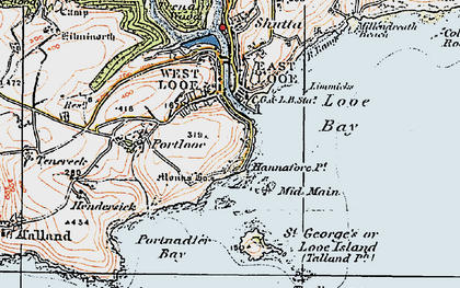 Old map of Hannafore in 1919