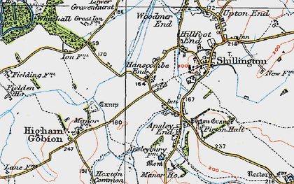 Old map of Hanscombe End in 1919