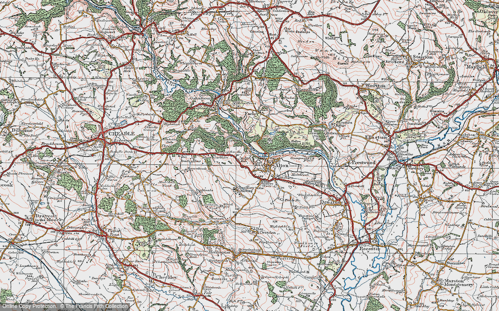 Old Map of Historic Map covering Alton Common in 1921