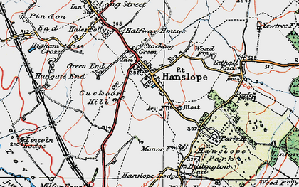 Old map of Hanslope in 1919