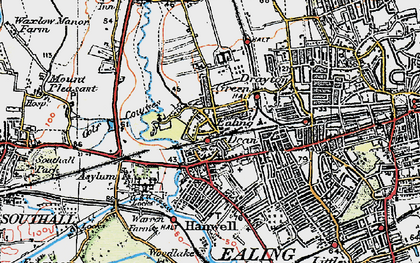 Old map of Hanwell in 1920