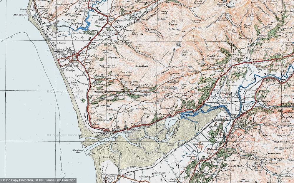 Old Map of Historic Map covering Afon Dyffryn-gwyn in 1922