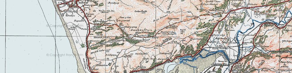 Old map of Afon Dyffryn-gwyn in 1922