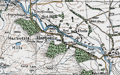 Old map of Harbottle in 1925