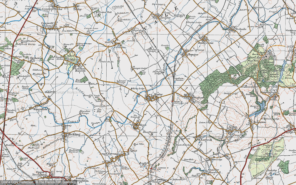 Old Map of Historic Map covering Langar Lodge in 1921