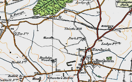 Old map of Hardwick in 1919