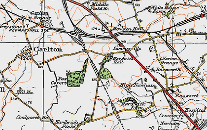 Old map of Hardwick in 1925