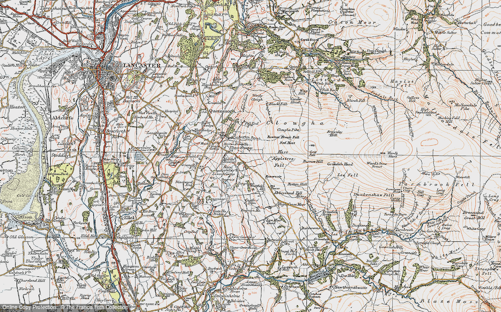 Old Map of Historic Map covering Abbeystead Fell in 1924
