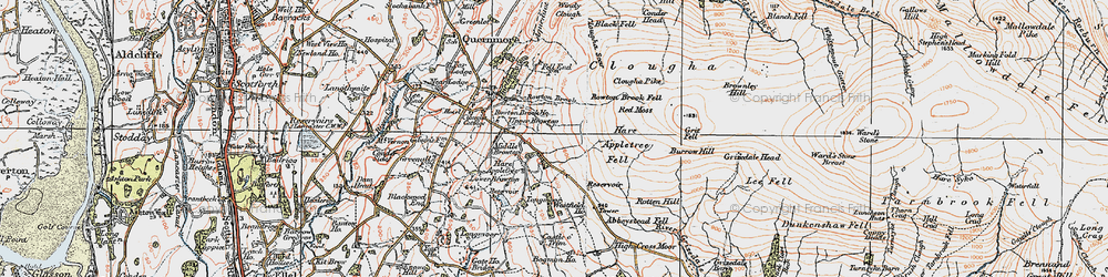 Old map of Windy Clough in 1924