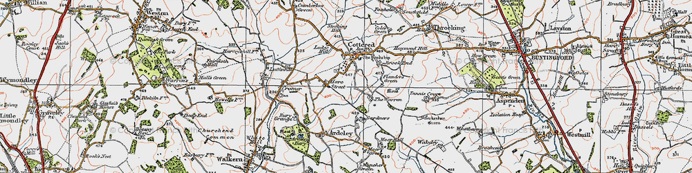 Old map of Hare Street in 1919