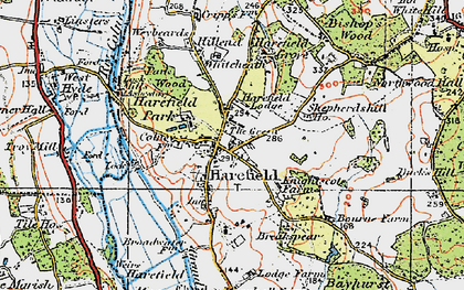 Old map of Harefield in 1920
