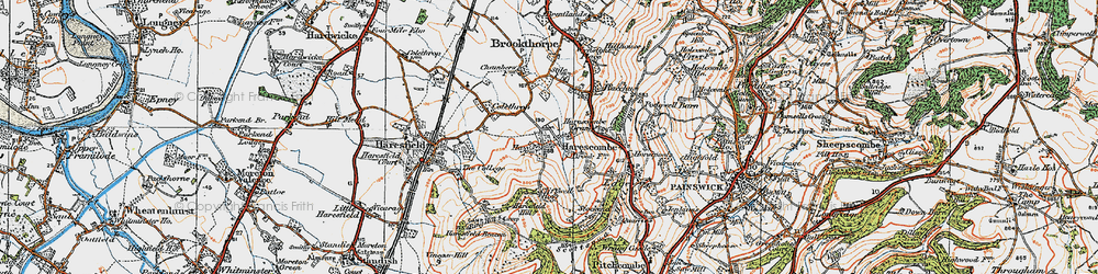 Old map of Harescombe in 1919