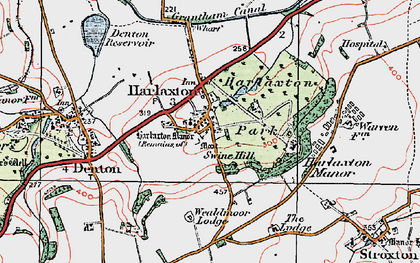 Old map of Harlaxton in 1921
