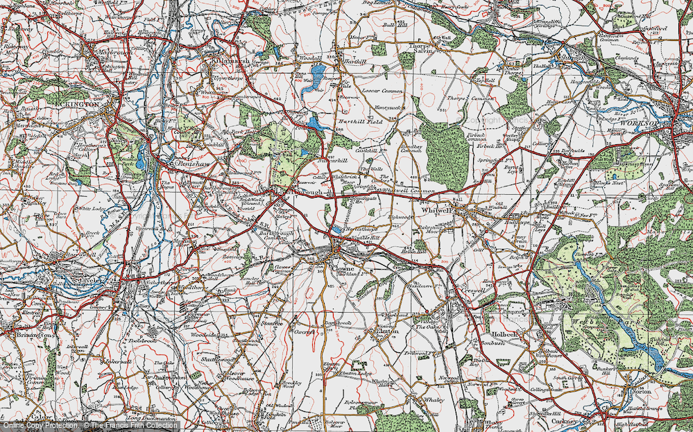Old Map of Historic Map covering Whitebrick Moor in 1923