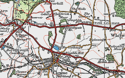 Old map of Whitebrick Moor in 1923
