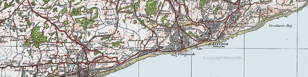 Old map of West St Leonards Sta in 1921
