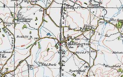 Old map of Harlington in 1919