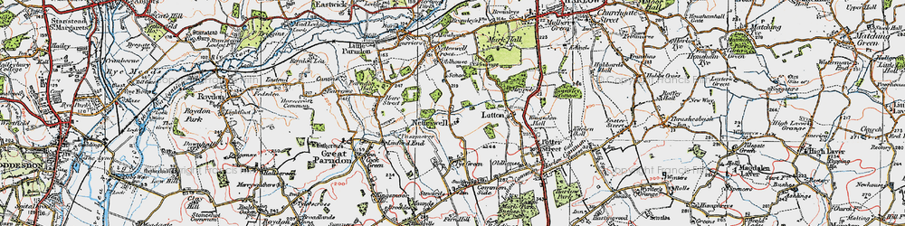 Old map of Harlow in 1919