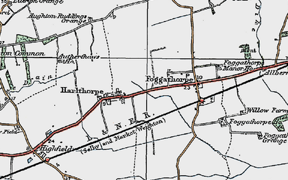 Old map of Aughton Ruddings Grange in 1924