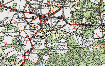 Old map of Harmans Water in 1919