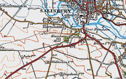 Old map of Harnham in 1919