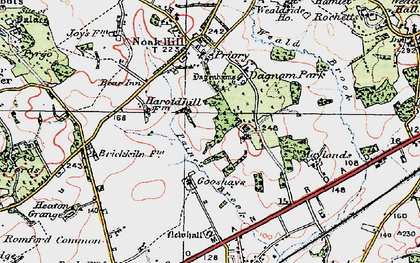 Old map of Harold Hill in 1920
